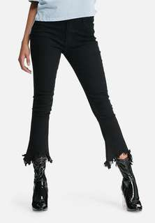 Frayed distressed black jeans