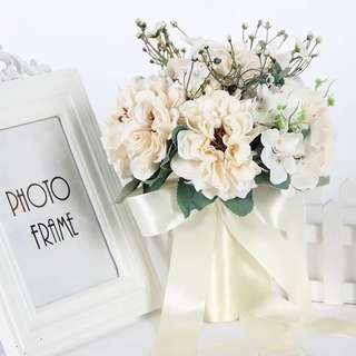 Artificial Wedding Bouquets for Brides hand holding Champagne white Flowers
