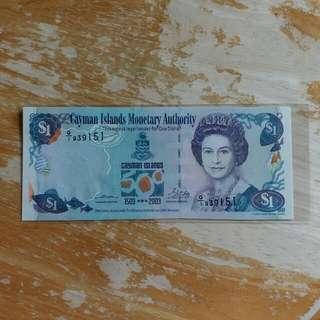 開曼纸幣 全新UNC 2003年1元