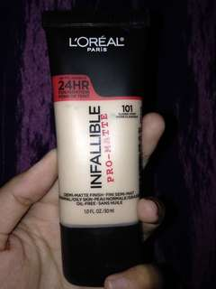 L'oreal paris infalliable pro-matte 24H foundation shade 101 classic ivory