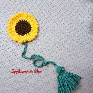Bookmark. Sunflower. Crochet knit. Handmade.
