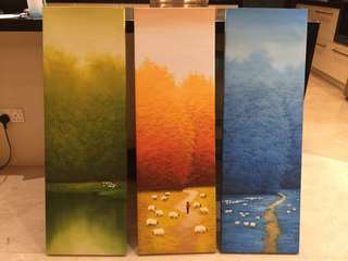 Different seasons 3 paintings oil on canvas 100x33cm each. ($30 each of $75 for all three)