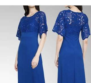 Royal Blue Lacey Long Gown