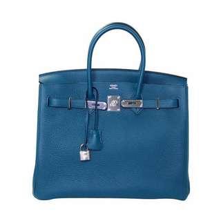 Hermes Birkin size 30 blue colvert