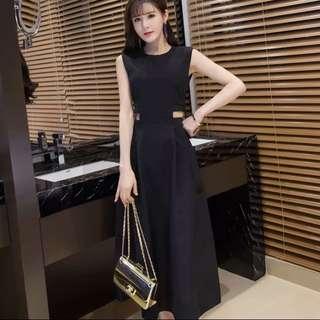 全新 黑色長洋裝 簍空腰L號