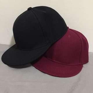黑+紅 後扣帽