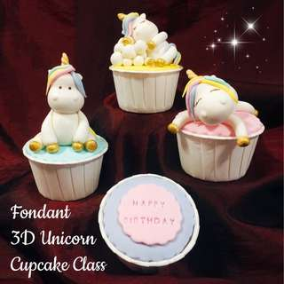 Fondant 3D Unicorn Cupcake Class halal topper workshop