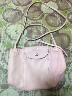 Longchamp 淺粉紅色小半皮真皮袋