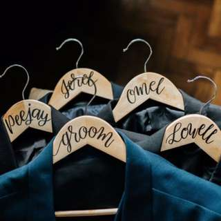 Custom Calligraphed Wedding Hangers