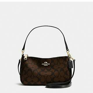 COACH SIGNATURE COATED CANVAS TOP HANDLE LIGHT GOLD/BROWN/BLACK
