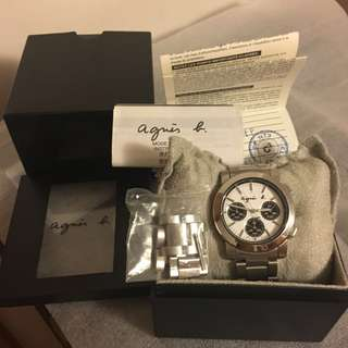 100% 全新 絕版Agnes b 三圈 黑白色鋼帶手錶 精工機芯Seiko watch