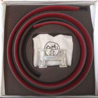獨特 限量 愛馬仕 全新 經典雙面 H皮帶,加純銀925 人手製造 皮帶扣