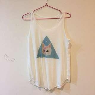 全新 正 泰國背心 貓咪 三角形