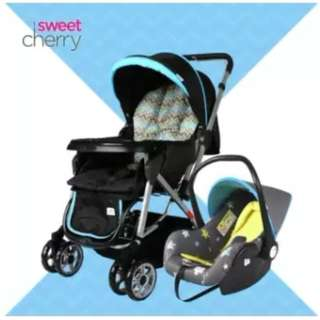 Sweet Cherry SC385 Dazzle Stroller + LB40 Oxford Carrie Carseat (Blue)