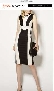 RTP$509 Karen Millen White Contrast Panel Pencil Dress