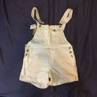 全新 白色吊帶短褲