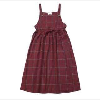 酒紅格子洋裝有拉繩❤️#換季五折