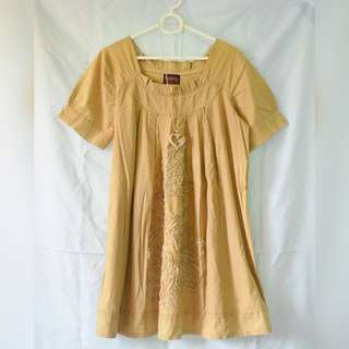 REPRICED! Light Coffee Brown Dress with Floral Stitches