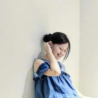 香港藍色條紋一字領上衣