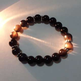 🎆Special Offer.🎆 Icy grade Black Obsidian+spacer bracelet(冰种黑曜石+隔珠手链), very nice with eye. Bead size 10mm.