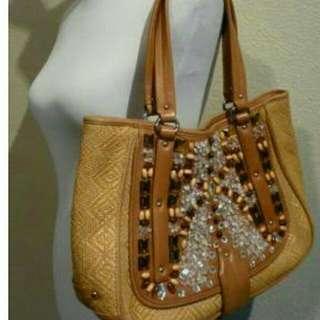 Cole Haan sydney straw tan leather rhinestone crystal vintage authentic bag