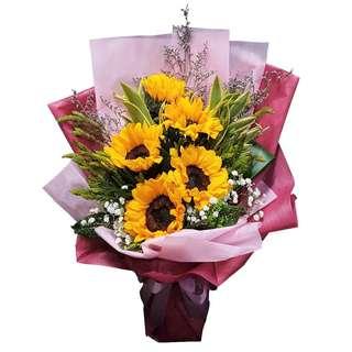 Summer Bells (5 Sunflowers Floral Bouquet)