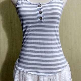 Tank top striped - lace