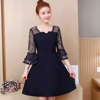 (L-4XL)Plus size summer women's princess lace stitching trumpet sleeves V-neck mesh yarn a skirt dress