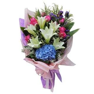Exquisite Blooms (Cala Lilies, Hydrangea & Roses Floral Bouquet)