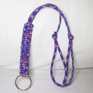 Handmade Paracord Lanyard - ﹰBluﹰe, ﹰRed and ﹰWhite