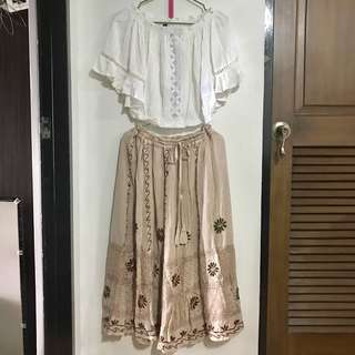 Boho terno maxi skirt and top