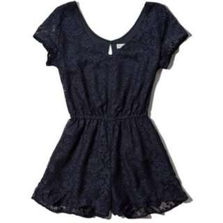 Abercrombie and fitch A&F lace romper in navy