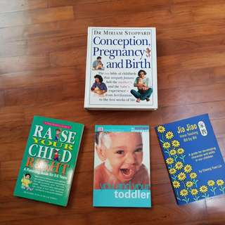 Conception, Pregnancy & Birth book, bundled with 3 children upbringing books for sale