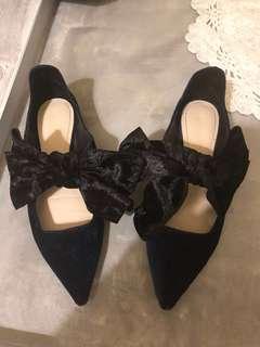 Zara Royal blue 藍絲絨 大蝴蝶結 尖頭平底鞋