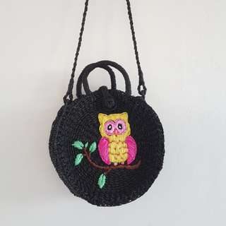 Abaca Round Sling Bag with Owl Embroidery