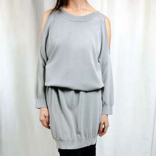 正韓灰色露肩針織長袖洋裝長版上衣孕婦修身
