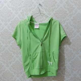PINK short sleeves zip hoodie