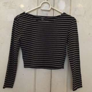 forever 21 striped long sleeve crop-top