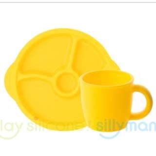 韓國sillymann 鉑金矽膠兒童學習餐盤組(盤+杯子)