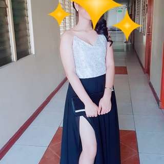 Silver/Black Long gown for rent