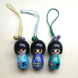 [LARGE DISCOUNT] Handmade Kyoto Kimono Doll Phone Strap Set, Handpainted Miniature Dolls, Bought In Kyoto