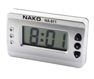 Car Silver Tone Digital LCD Desk Wall Clock