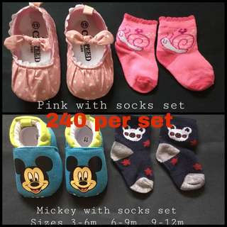 Prewalking baby shoes with sock set