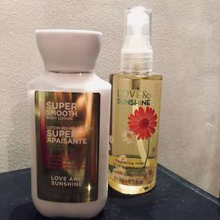 Bath & body works fragrance and body lotion