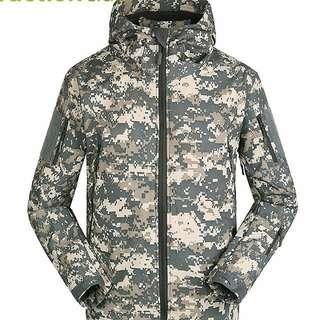 Military tactical  jacket men windproof warm coat hooded