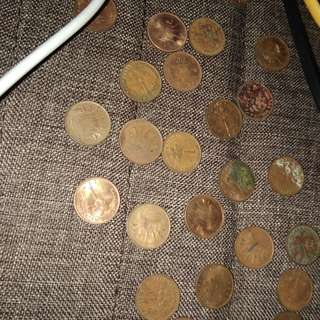 1 Cents & 5 Cents Malaysia's Old Coins (44 Pieces)