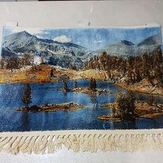 Tapestry From XinJiang China of Heavenly lake of Tianshan