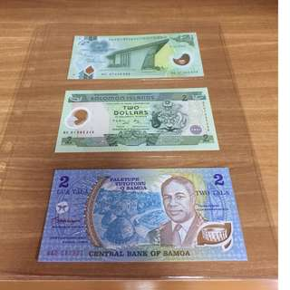 Papua , Solomon Islands and Samoa Polymer Banknotes UNC