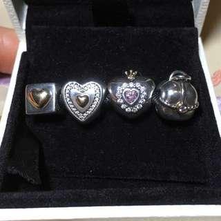 pandora 14k gold n silver charms