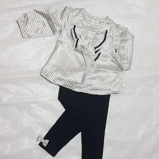 全新女嬰晚裝上衫+褲+頭帶
